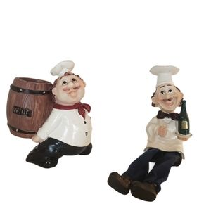 Fat Chef Toothpick Holder and Chef Decor Set